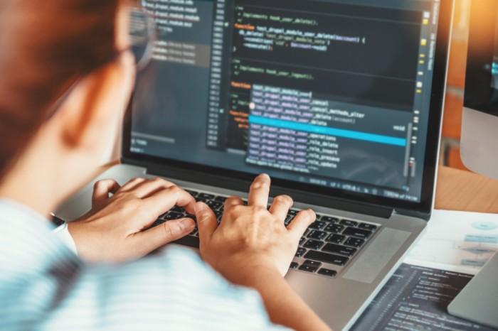 programmer coding an application